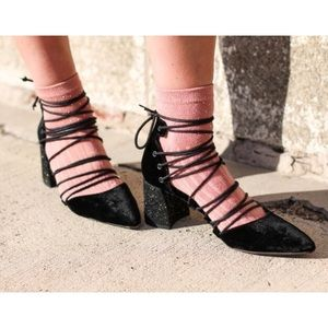Free People Top Down Lace Up Glitter Block Heel